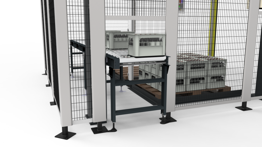 automated packing solution conveyor in / out feed.